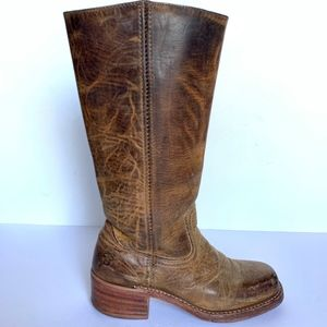 Frye Tall Campus Banana Leather Square Toe Boots 7